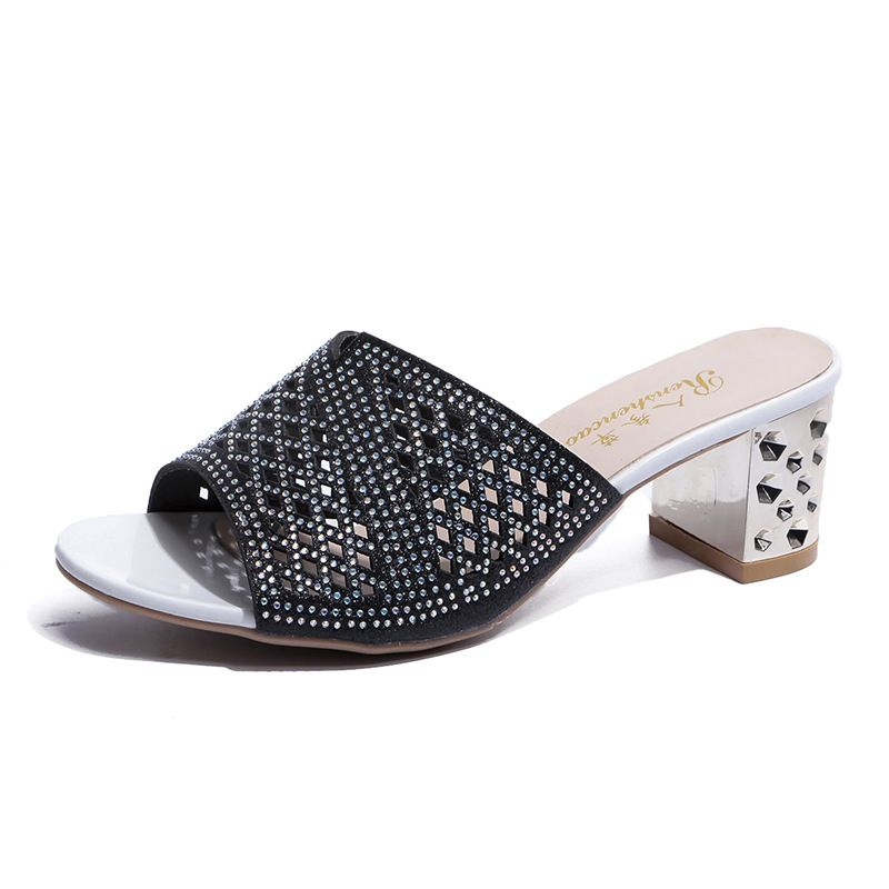 Woman Sandals Shoes Slippers High Heels Thick 2019 Summer Style Slides Peep Toe Hollow Slip On Fashi