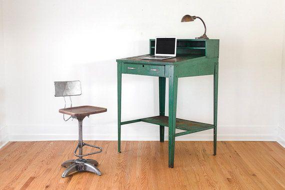 Amazing Vintage Green Metal Industrial Standing Desk   Shop Table