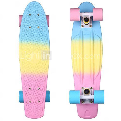 22 Inch Cruisers Skateboard Pp Polypropylene Abec 7 Rainbow Professional Blue Pink 2020 Us 42 39 Penny Board Penny Skateboard Skateboard