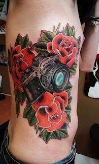 8c6e1418ad559 Rose and camera tattoo- can i please get this on my shoulder but in black  and white? WOWOWOWOWOWOWOWOw- dream ink.