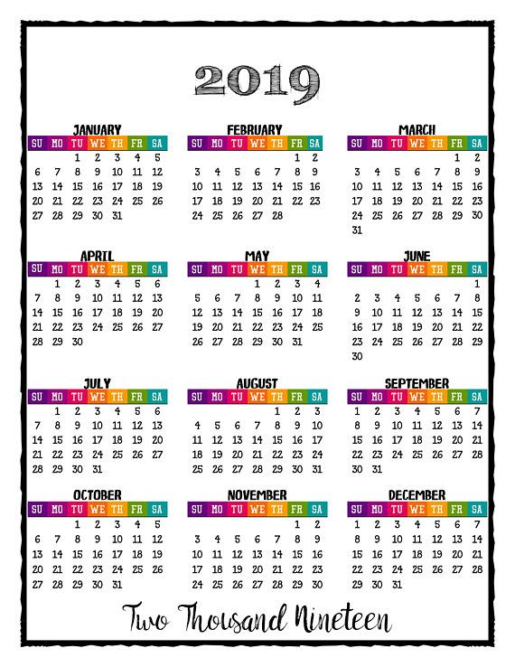 printable coloring calendar for 2019 and 2018 k2 t