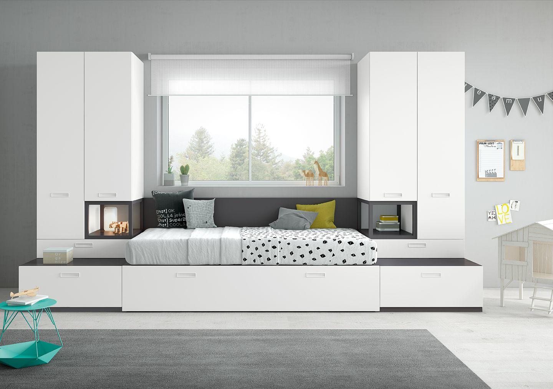 Dormitorio juvenil con cama nido y armarios antaix for Cama nido juvenil ikea