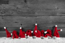 weihnachtlicher holz santa hintergrund in grau rot und. Black Bedroom Furniture Sets. Home Design Ideas