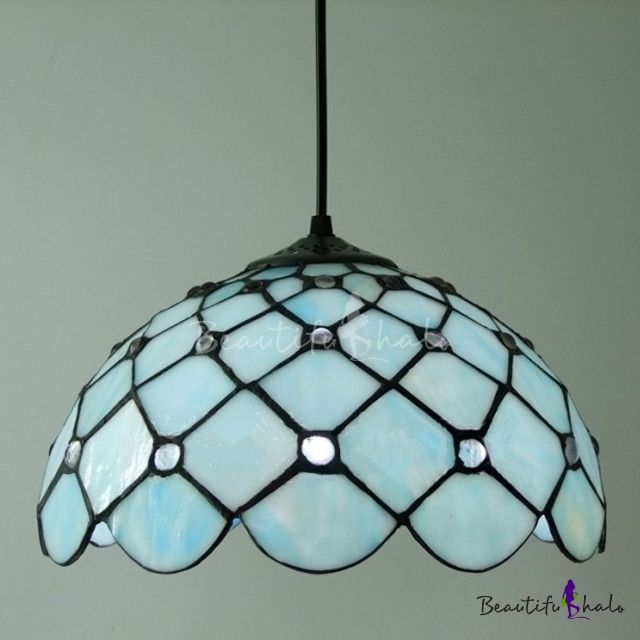 Downard Bowl Shade 12 Inch Hanging Pendant Lighting In Tiffany Blue Stained Glass Style