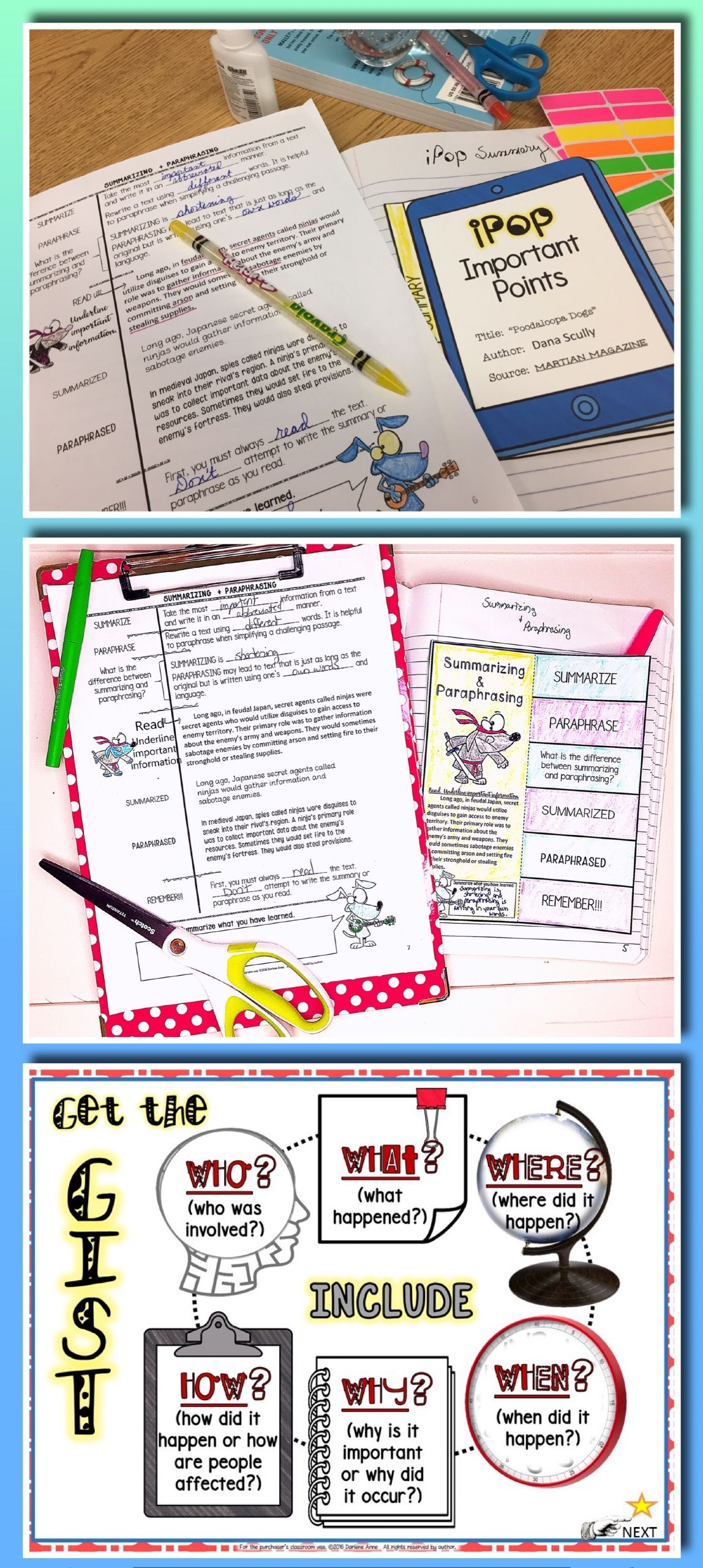Summarizing and paraphrasing: practice worksheets and assessment ...