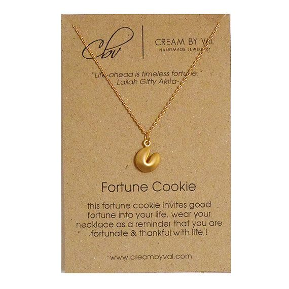 Fortune Necklace Fortune Cookies Necklace Symbolic Gift Ideas For