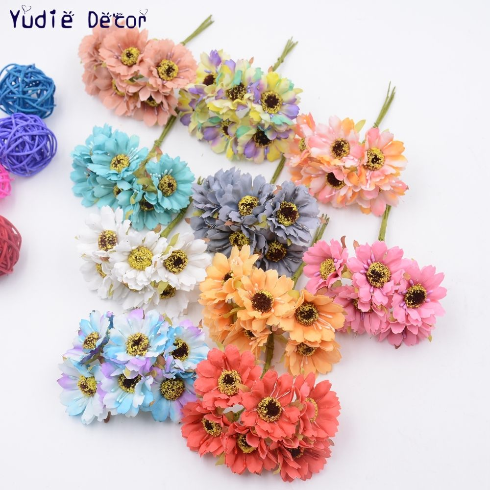 6pcslot fragrant retro daisy for wedding decoration bridal cheap artificial dried flowers buy directly from china silk forest style daisy artificial flower bouquet for wedding party decoration diy gift box izmirmasajfo Image collections