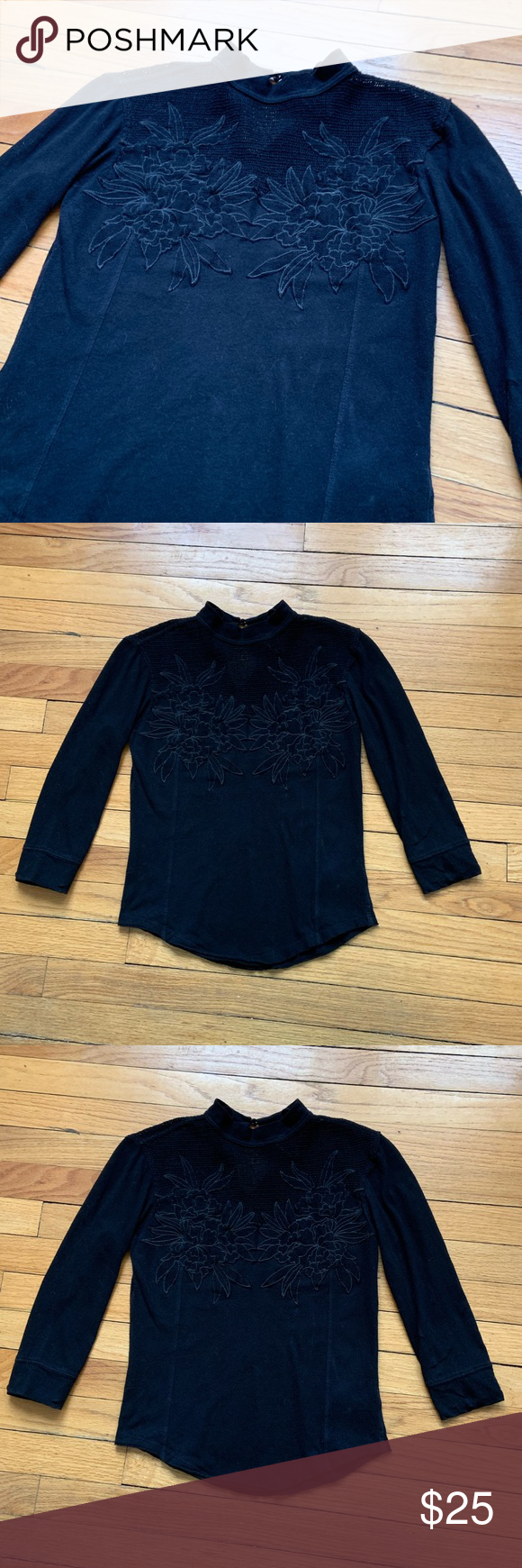 558b0fa1f8ed1a FREE PEOPLE Black Embroidered long sleeve blouse S This beautiful Free  People Blouse features a subtle