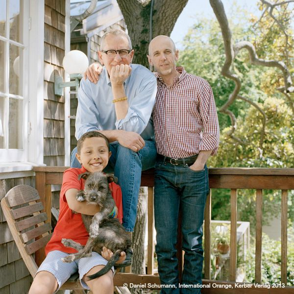 """""""I became part of this family the moment I was born in 2002."""" Traylor (9), CA & J. Mike (60), TX & Chris (49), TX / San Francisco, April 2012 #InternationalOrange"""