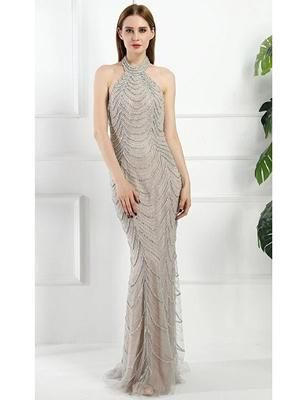 Camillia Beaded Gown- Grey   Top Glam Shop   Formal Gowns ...
