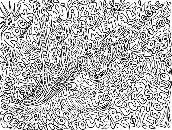 Music Coloring Pages For Adults 1 Printable Coloring Page