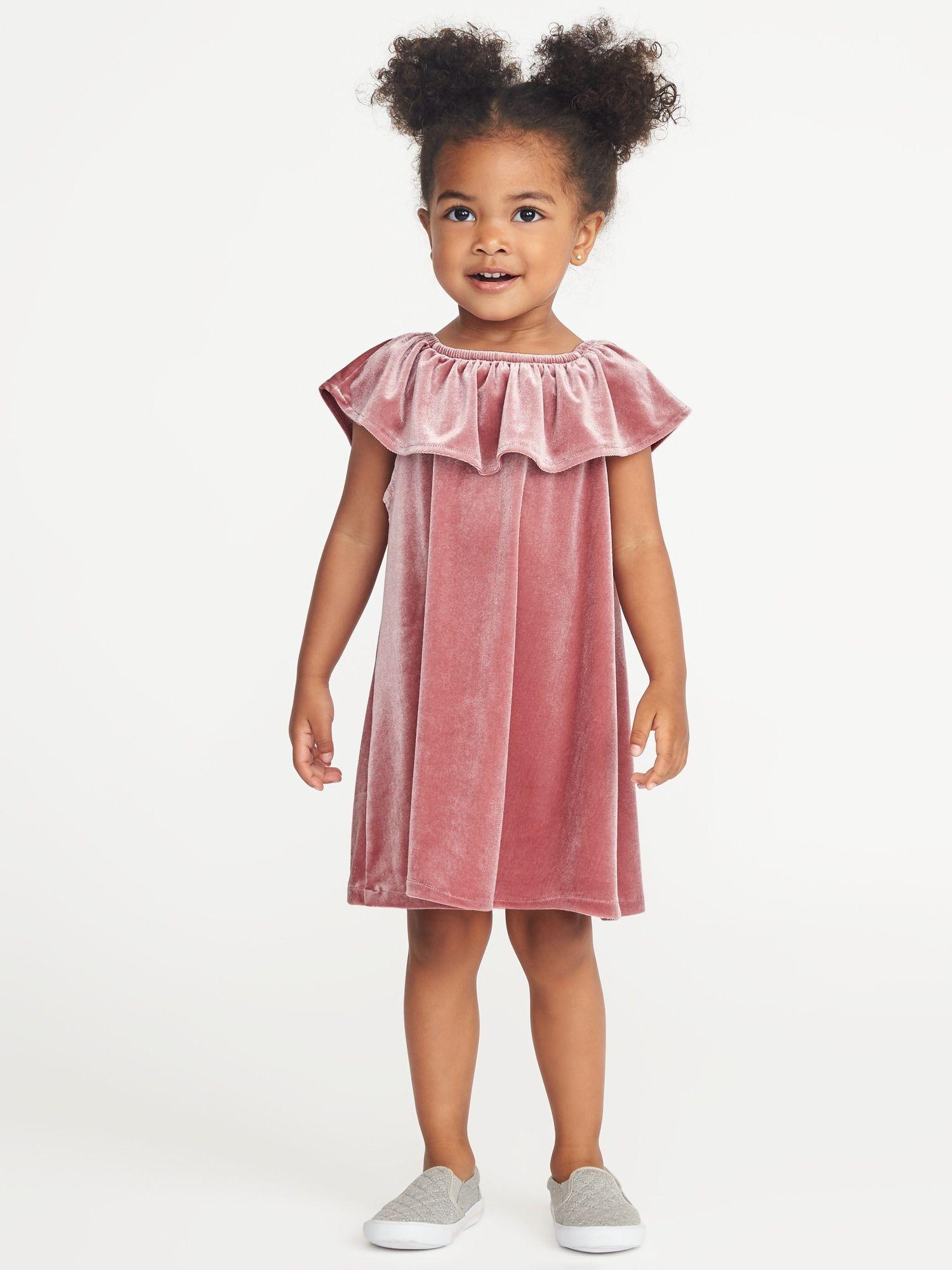 5bd015b89 Off-the-Shoulder Velvet Dress for Toddler Girls
