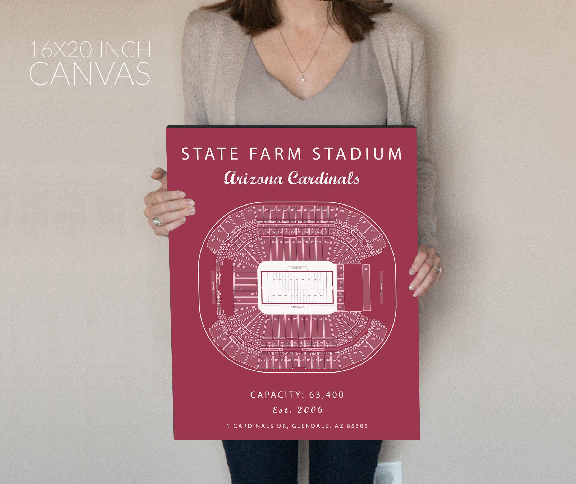 Arizona Cardinals State Farm Stadium Seating Chart Art