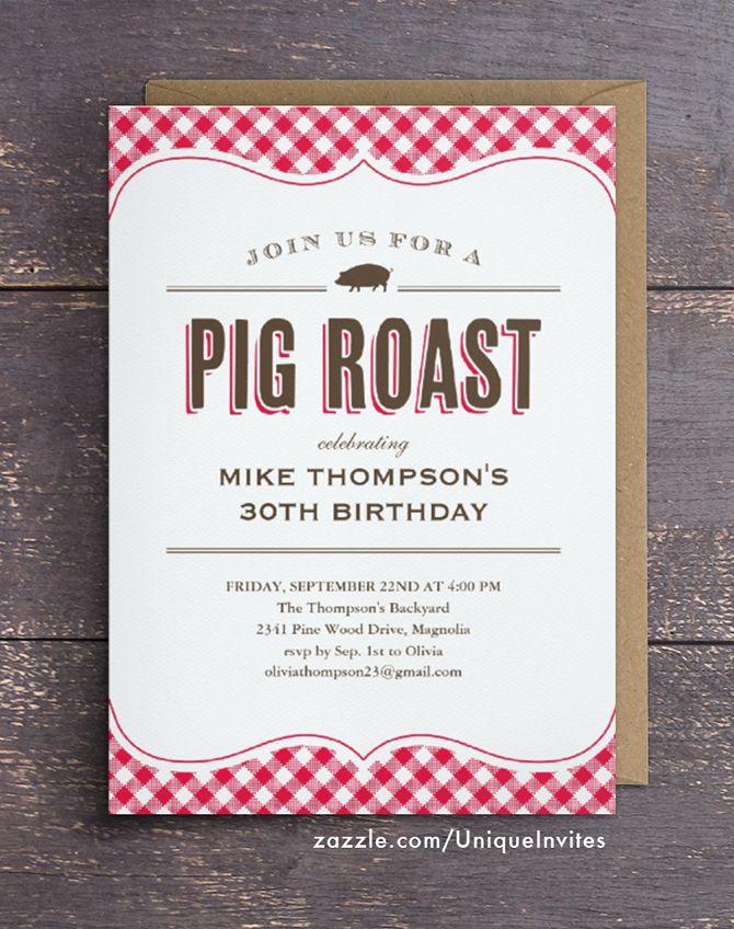 Pig Roast Table Cloth Invitations | Pig roast, Pig roast party and ...
