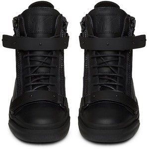 Giuseppe Zanotti Black Matte Hardwear Leather London Mid Top Sneaker
