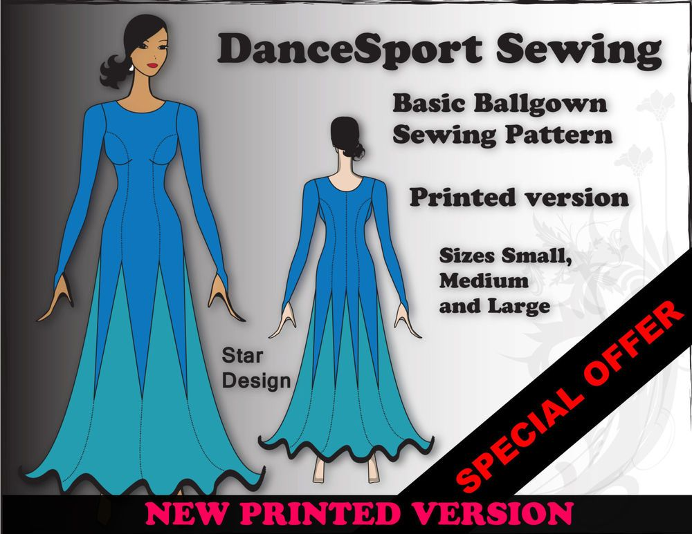 Ballgown sewing pattern for a basic Dance Sport Ballroom Gown, plus ...