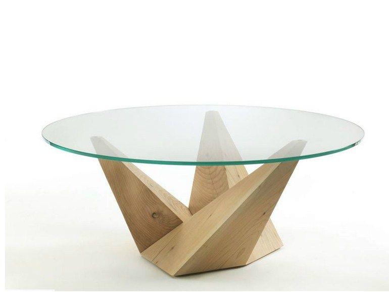 Mesa redonda de madera PEAK by Riva 1920 diseño Claudio Bellini