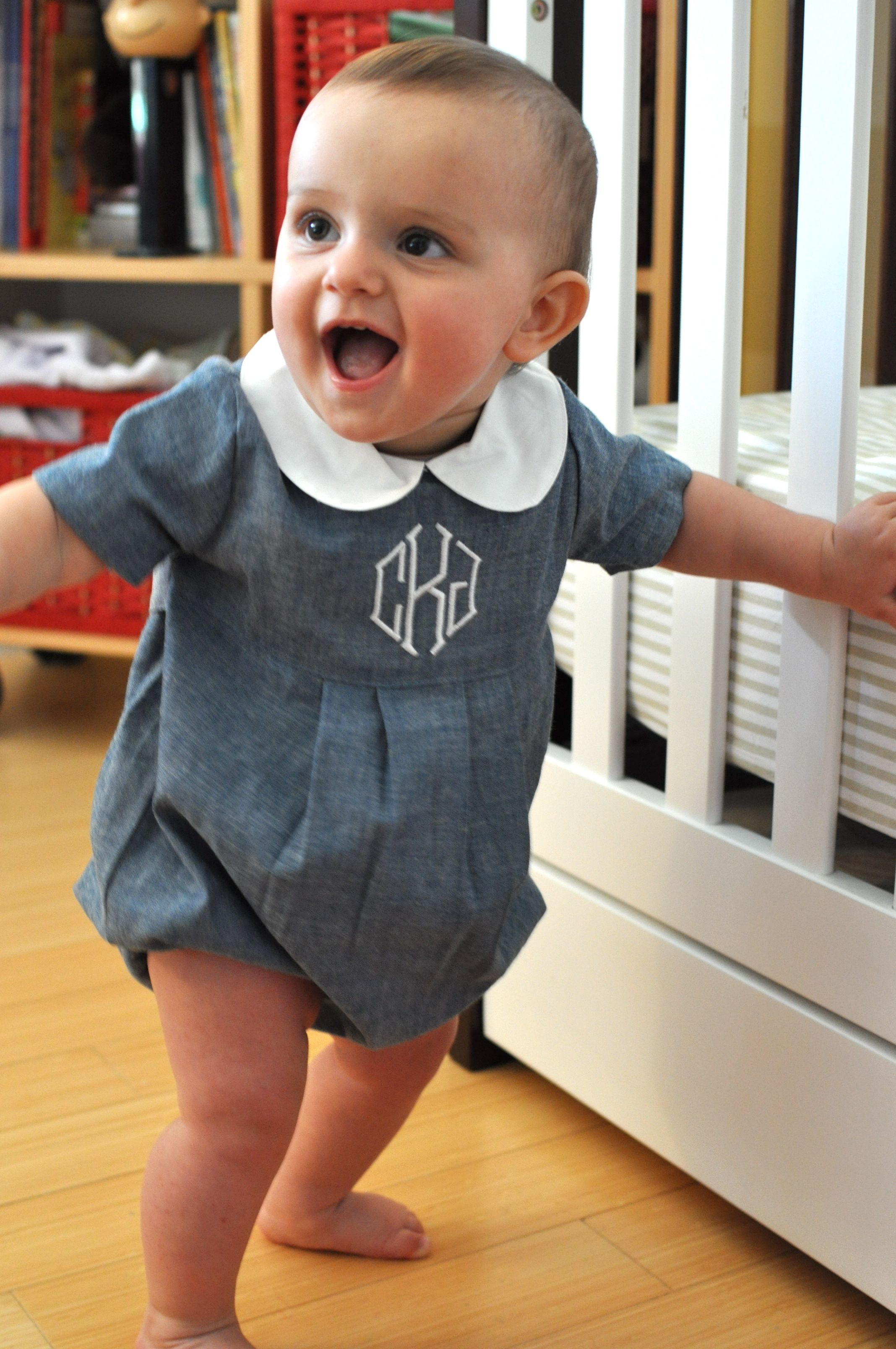 Boys Chambray Bubble With Monogram Mongram Everything