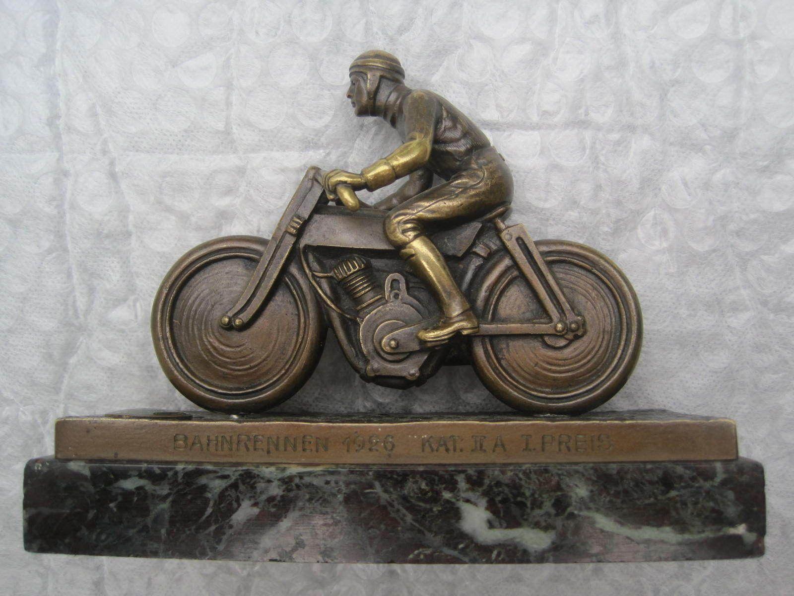 Track Races In 1926, Carl Bröse Motorcycle Bronze Sculpture