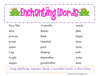 enchanting words freebie for my fairy tale unit this is great teaching stuff fairy tales. Black Bedroom Furniture Sets. Home Design Ideas