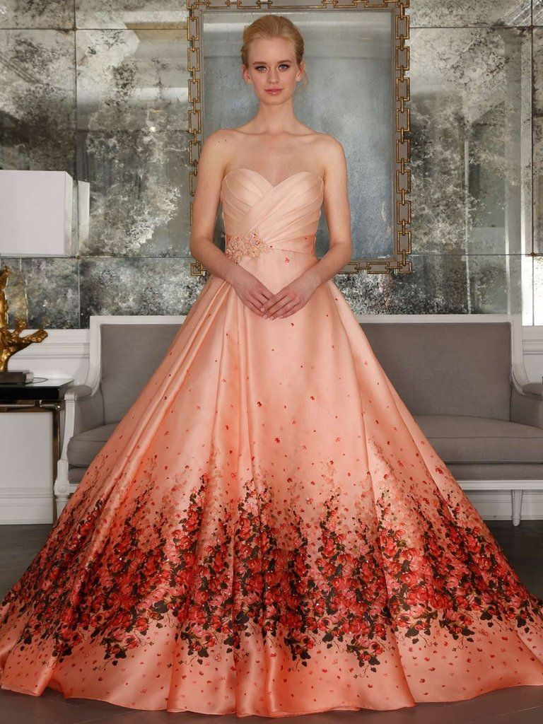 Chic aline sweetheart peach prom dress floral prom dresses long