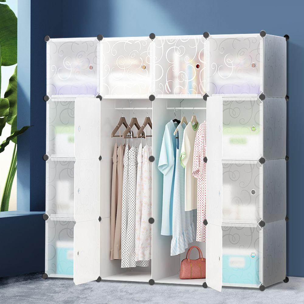 12 Cube Portable Storage Cabinet Wardrobe - White  Diy storage