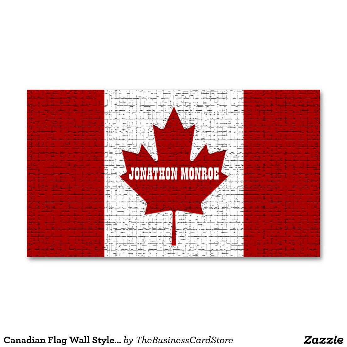 Canadian Flag Wall Style Canada Double-Sided Standard Business Cards ...