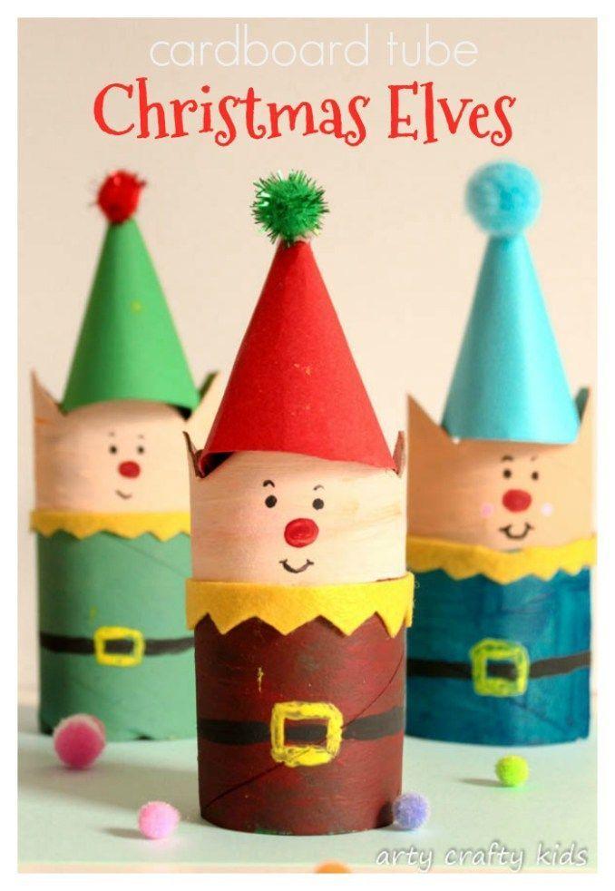 Cardboard Tube Christmas Elf Craft | Arty Crafty Kids