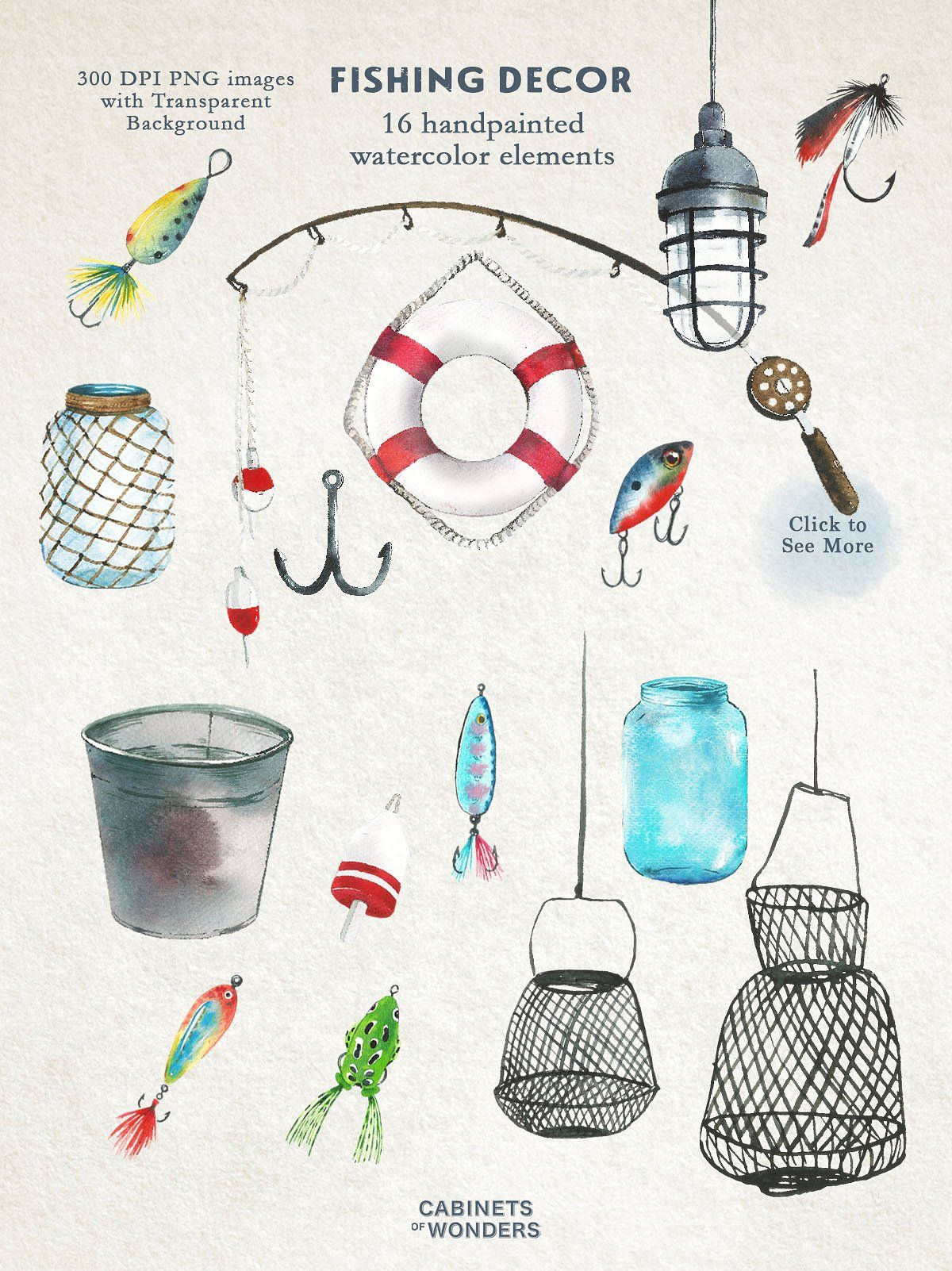 Gone Fishing Watercolor Clipart Set Watercolor Clipart Fish