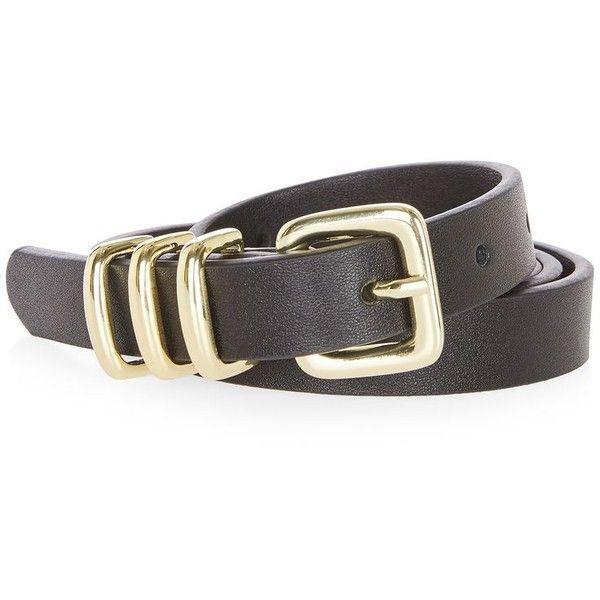 Topshop Pu Skinny Triple Keeper Belt (44 BRL) Liked On