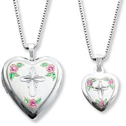 Review Mother/Daughter Necklaces Cross with Flowers Sterling Silver online - This mother and daughter necklace set features a heart-shaped locket and pendant adorned with a diamond-cut cross and flowers. The set is crafted of sterling silver and comes with 14- and 18-inch box chains so mother and daughter...