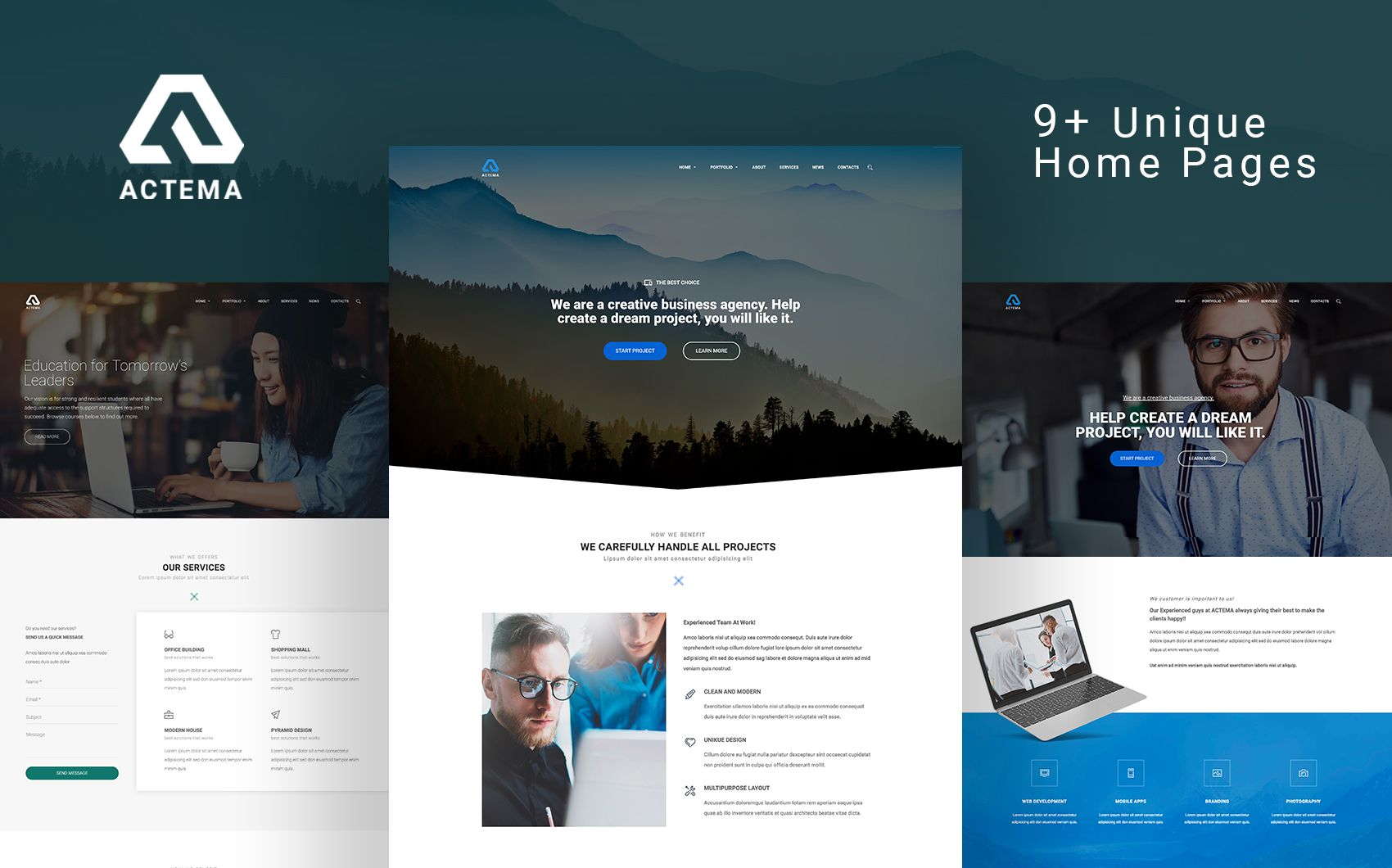 actema - creative business multipurpose wordpress theme big