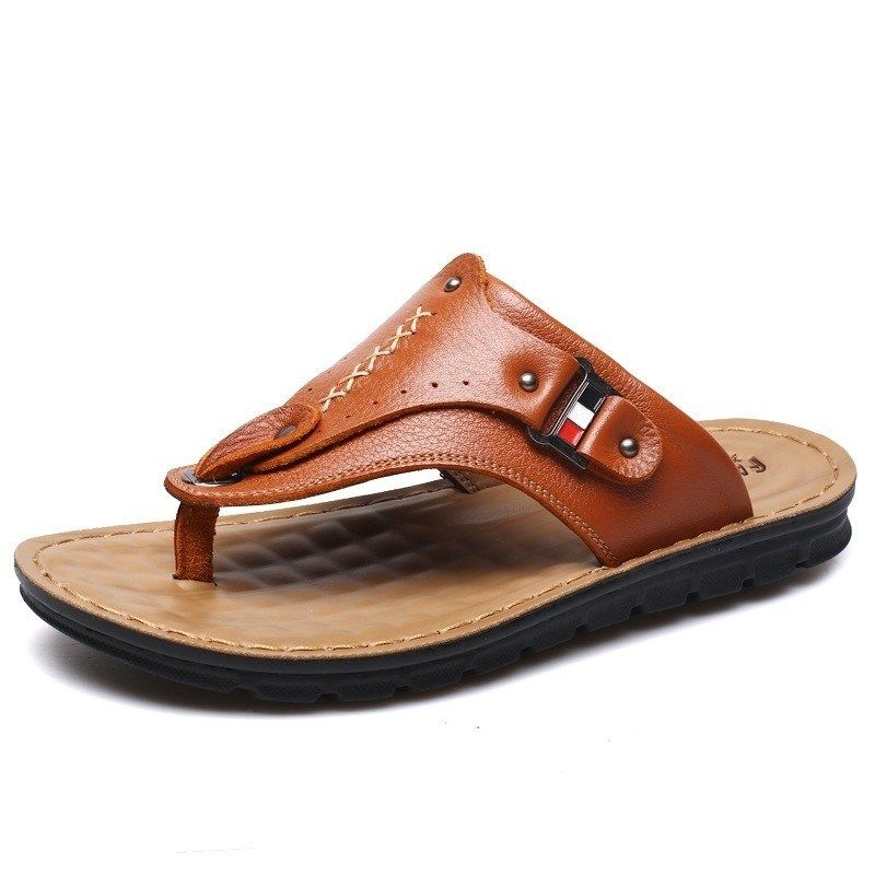 Genuine Leather Mens Breathable Mens Beach Shoes Flip Flops Casual Slippers