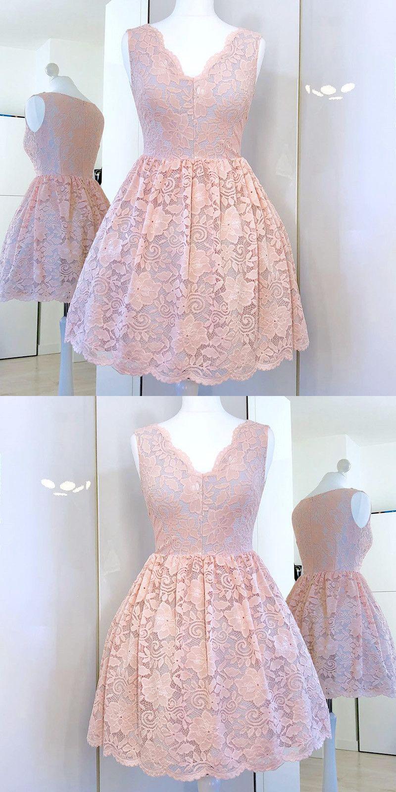 Aline vneck pink lace short homecoming dress vestiditos