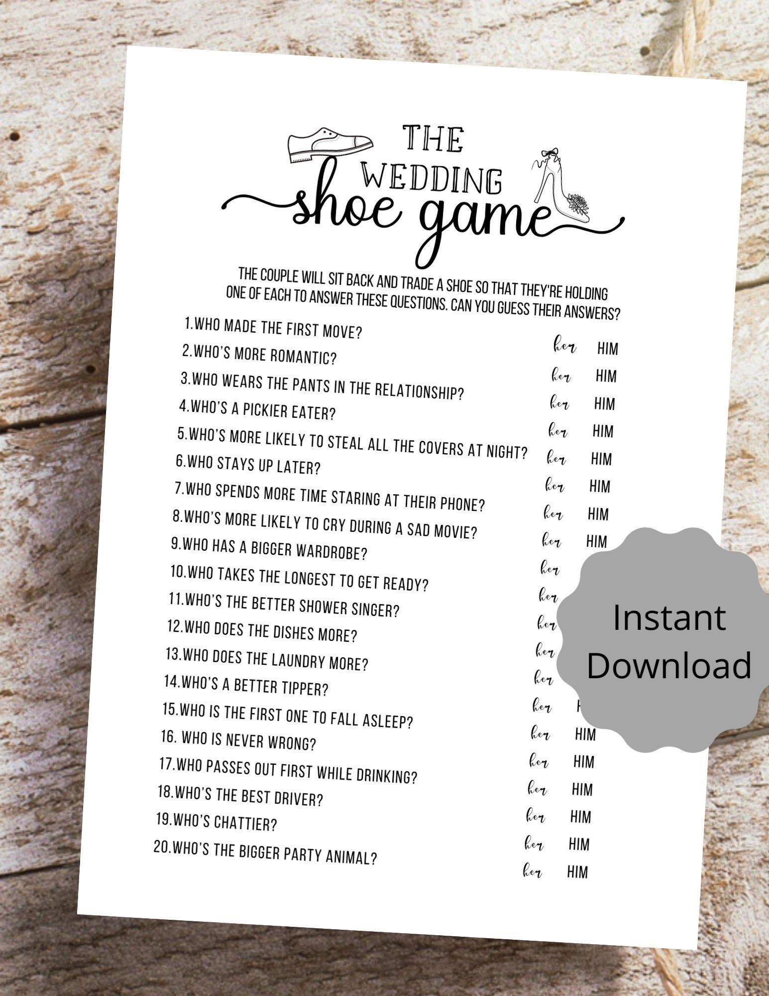 The Wedding Shoe Game Bridal Shower Game Printable PDF