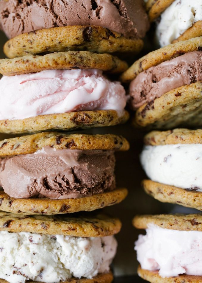 Chocolate Chip Cookie Ice Cream Sandwiches #icecreamsandwich
