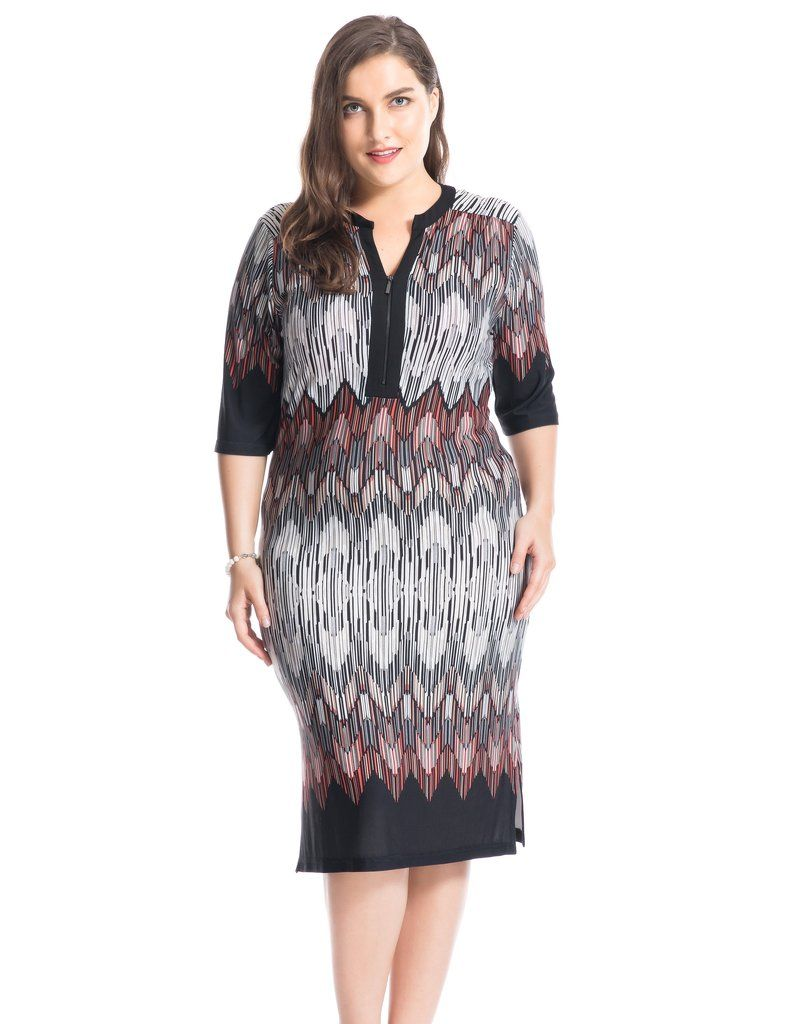 9f016f5db7e1 Chicwe Women s Plus Size Border Printed Dress with Zipped V-Neck US16-26
