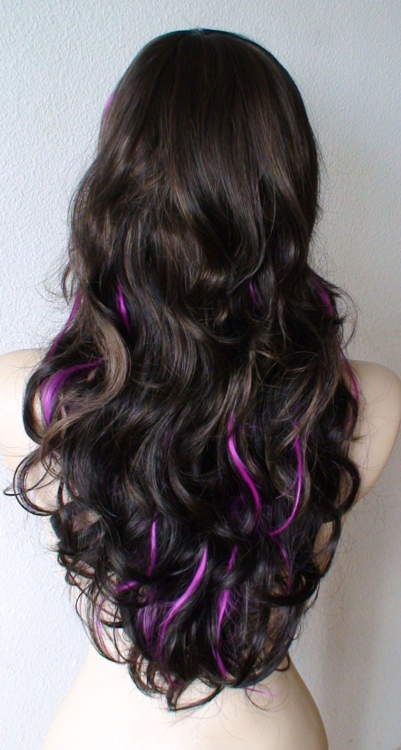 Brown/ auburn hair with Fuchsia highlights wig. Long Curly ...