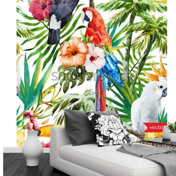 Pas cher Personnalis\eacute; 3d peintures murales, La jungle toucans - repeindre du papier peint