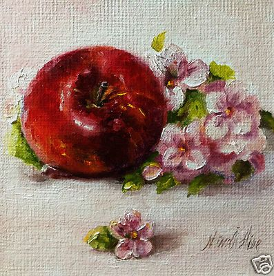 Original oil painting Apple and Blossom  Oil on canvas panel 6x6 inches. SOLD