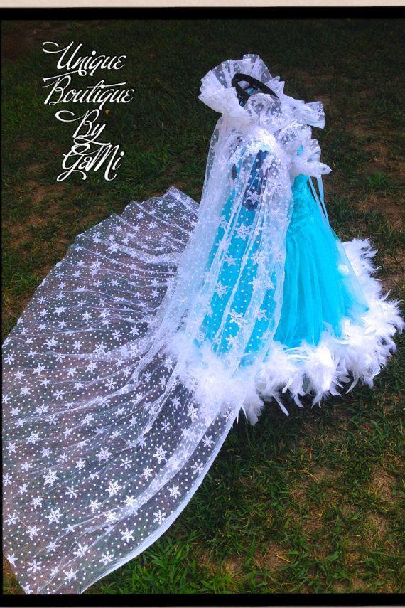 Theme Birthday Party Disney Princess Dress Blue Snow Queen Dress With Lace Dress With Cape Girl Elsa Costume Tutu Blue White Elsa Dress