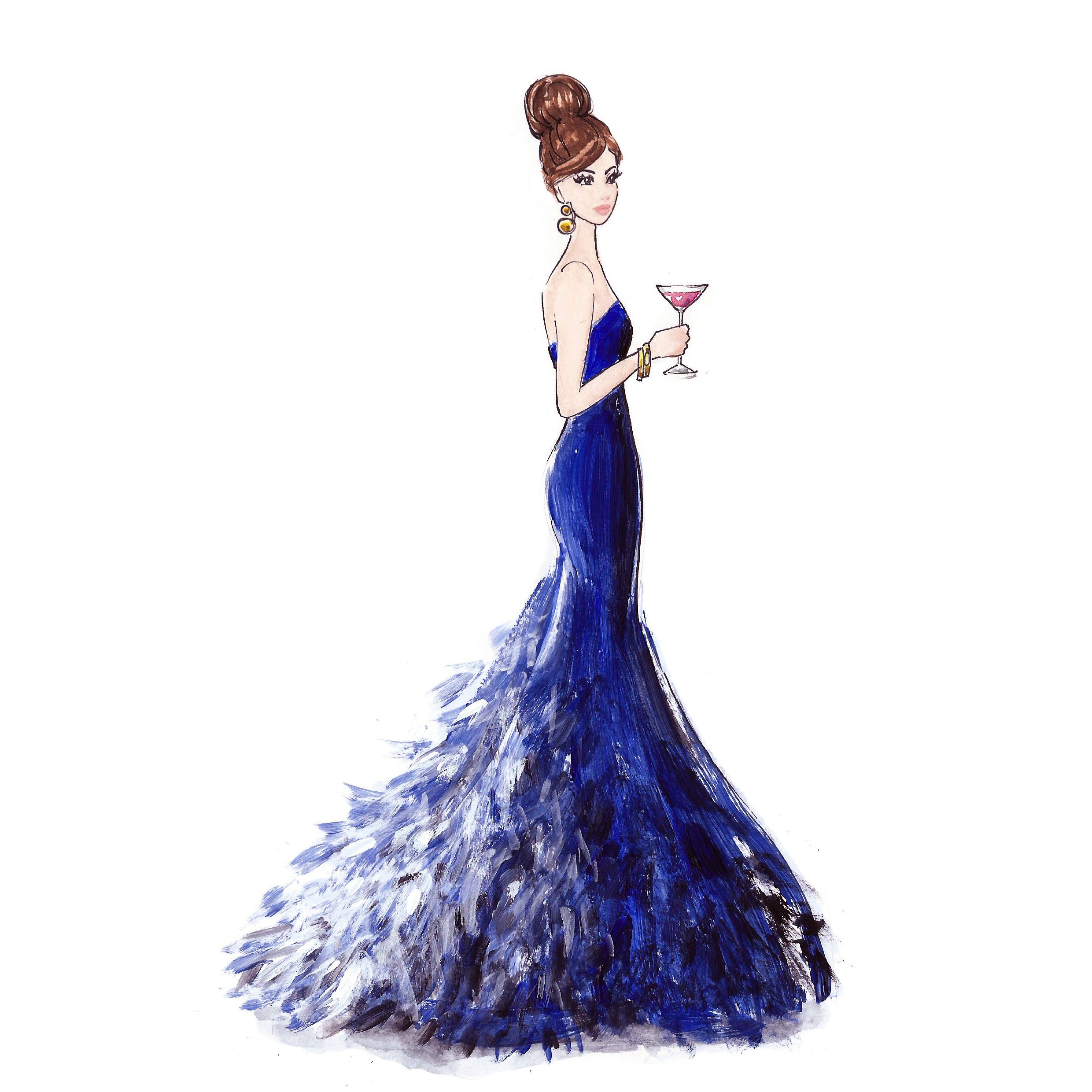 Couture Blue Feather Dress Fashion Illustration Dress Illustration Feather Dress Blue Feather Dress