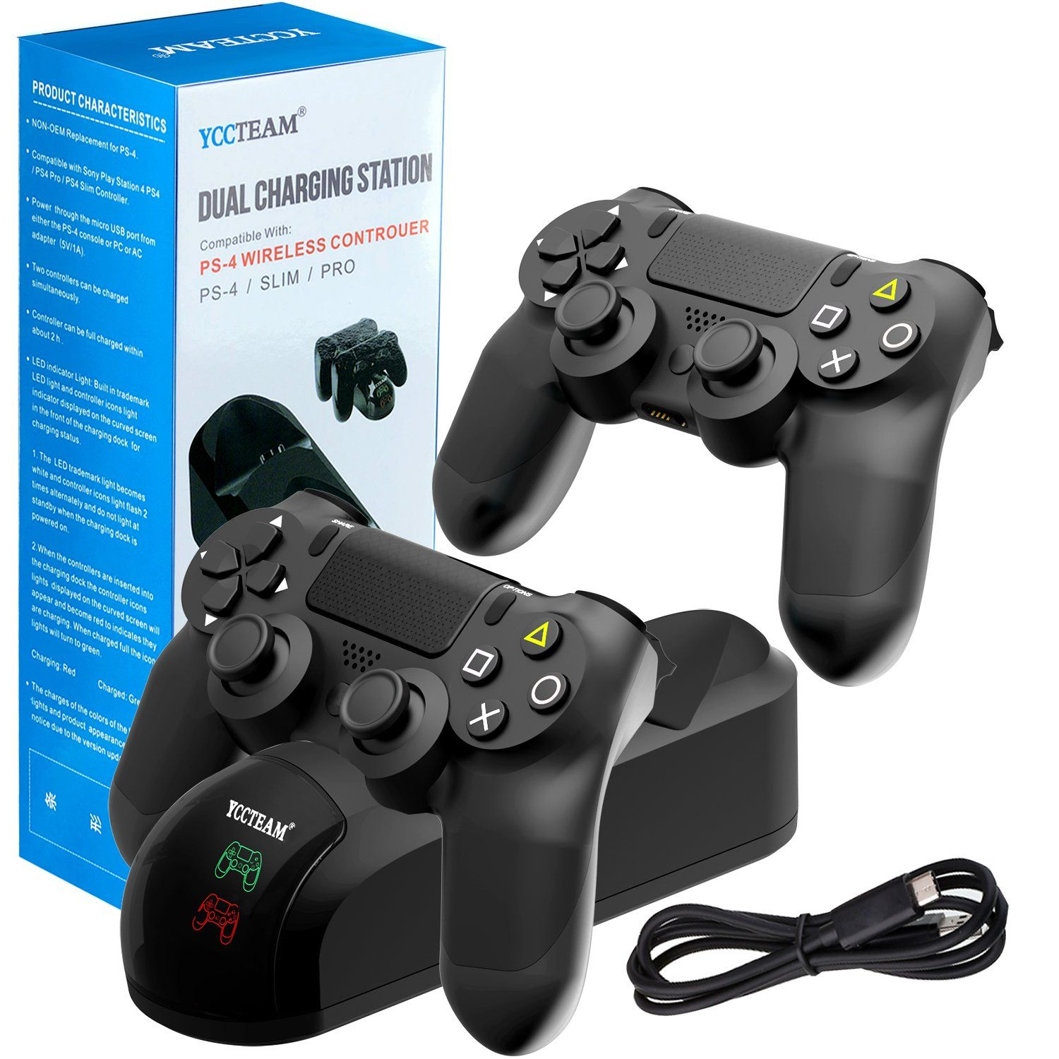 PS4 Controller Charger Charging Station Black Dual Shock 4 Controller Charger PlayStation 4 Twin Charge Docking Station for Sony PS4//Pro//PS4 Slim Controller