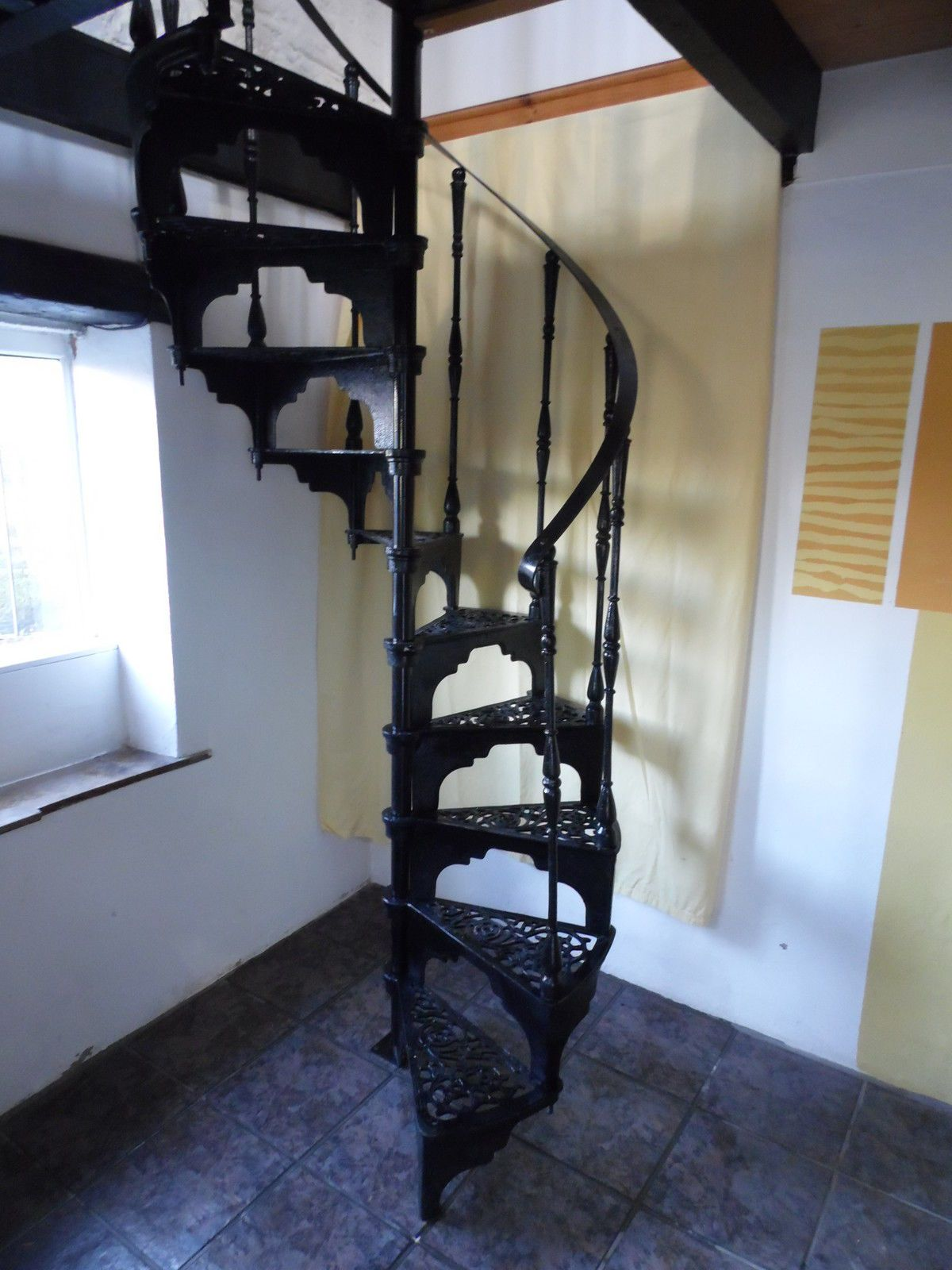 Cast Iron Spiral Staircase Spiral Staircase Staircase Rustic | Spiral Staircase For Sale Ebay | Stair Railing | Stair Case | Wrought Iron Spiral | Handrail | Attic Stairs