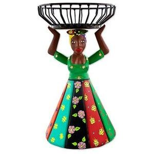 NOVICA Brazilian Artisan Crafted Decorative Wood Doll with Basket