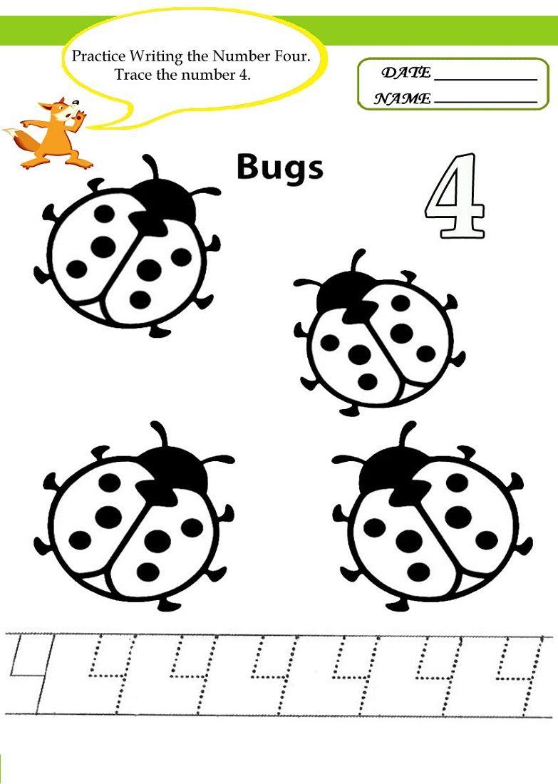 Number 4 Worksheets For Children | Activity Shelter | Kids ...