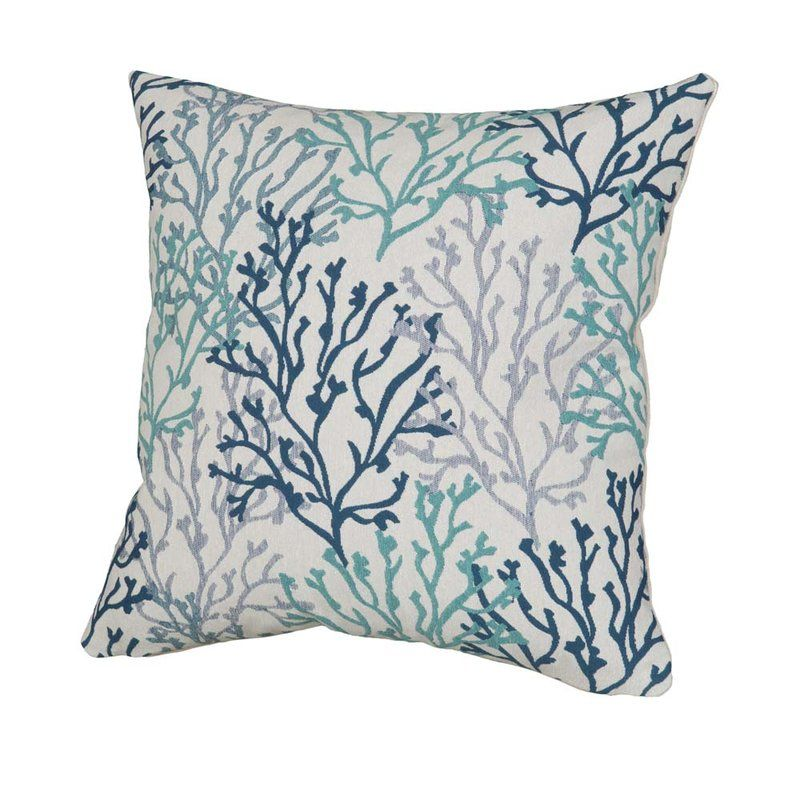 Benat Coral Isle Throw Pillow Blue Outdoor Pillows Throw Pillows Beach House Pillow