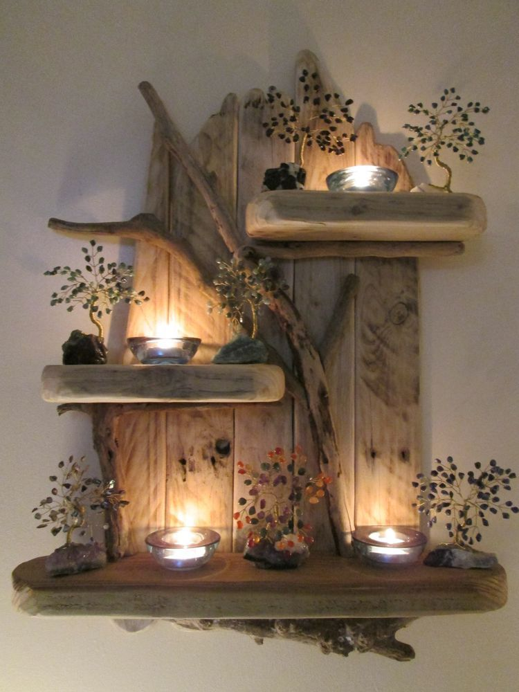 enchanting hidden bed furniture double creative wall | Enchanting Unique Driftwood Shelves Solid Rustic Shabby ...