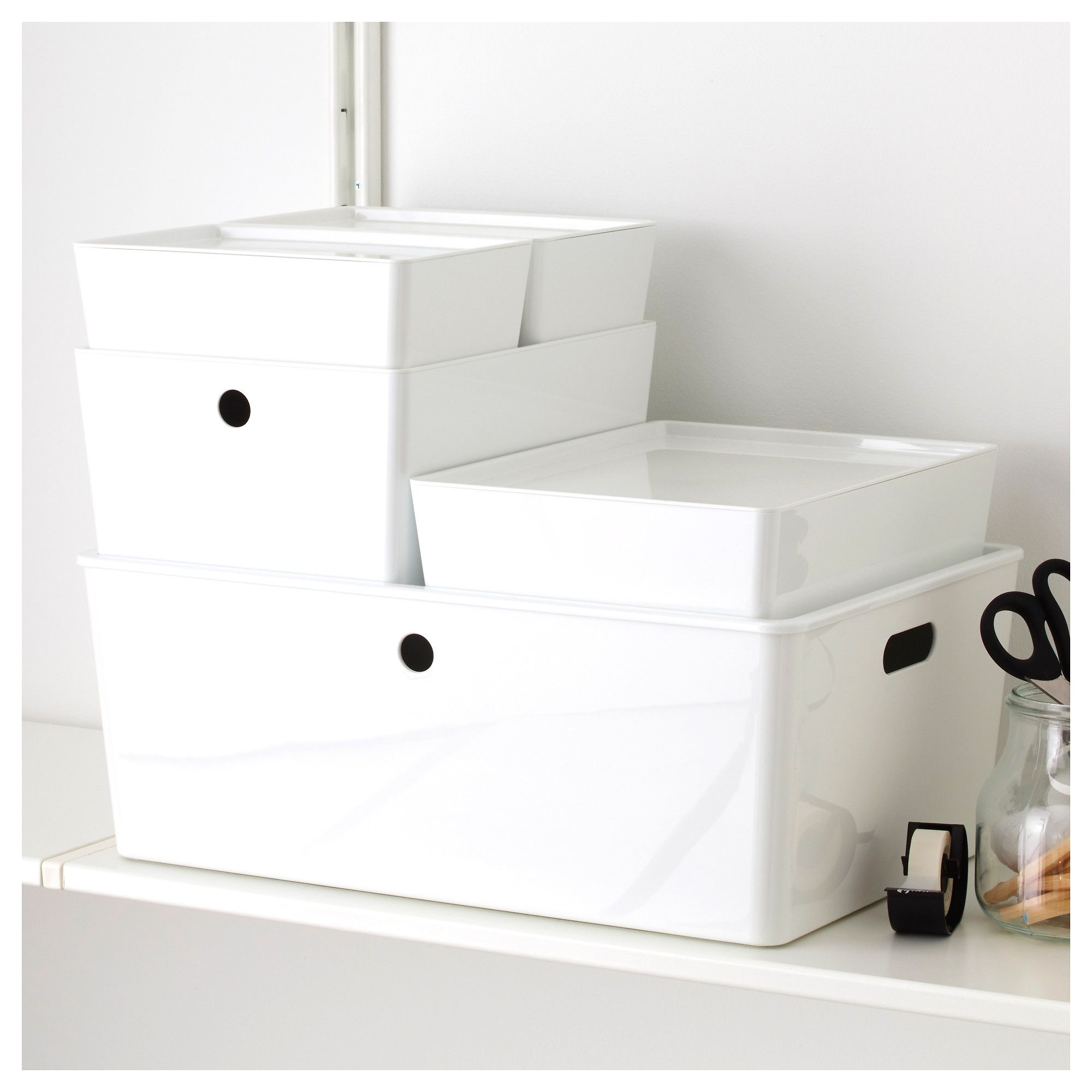 IKEA KUGGIS Box with lid white Storage boxes with lids