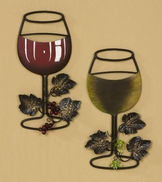 Red White Wine Glass With Vine And Grapes Metal Wall